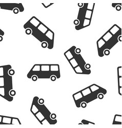 passenger minivan sign icon seamless pattern vector image