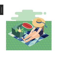 Picnic image summer postcard vector