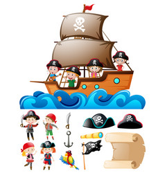 Pirate set with kids on ship and other elements vector