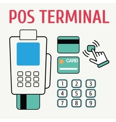 POS terminal flat color and naked icon vector image
