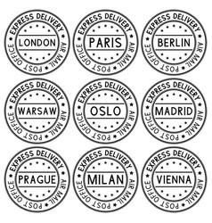 Postmark express delivery with european cities vector