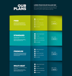 products versions feature and price list table vector image
