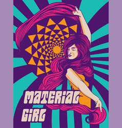 Psychedelic vintage poster a woman vector