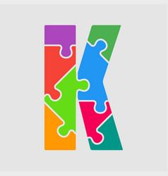 puzzle piece letter - k jigsaw font shape vector image