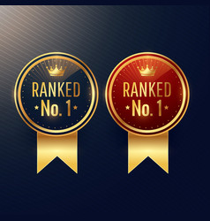 ranked no1 labels set in two colors vector image