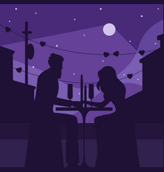 romantic dinner with moon silhouette vector image
