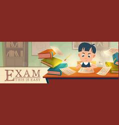 school student passing easy exam in classroom vector image