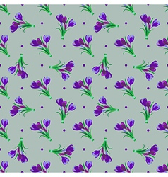 Seamless spring pattern Crocus vector image