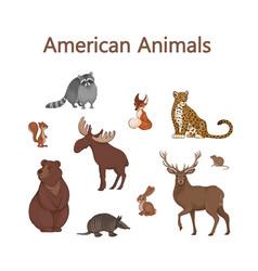 Set cartoon cute american animals raccoon fox vector