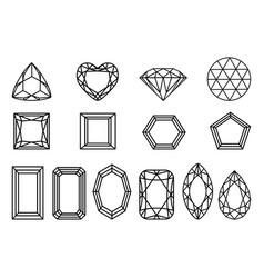 Set of diamonds precious stones of different vector