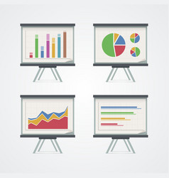 Set of presentation boards with pie charts vector image