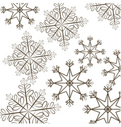 Set snowflakes christmas differents icons vector