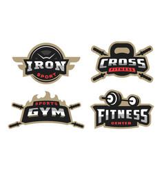 set sport logo emblem vector image