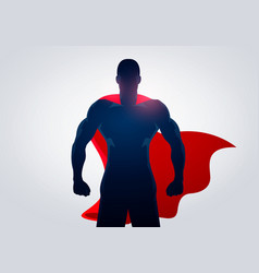 Silhouette superhero in strong pose with cape vector
