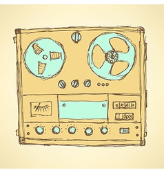 Sketch analog recorder vector image