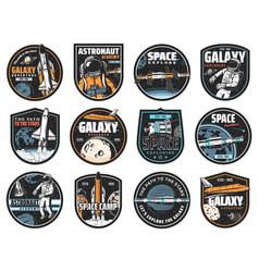 Space icons astronaut in galaxy rocket vector