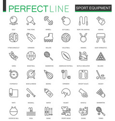 Sport equipment thin line web icons set outline vector