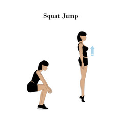 Squat jump exercise vector