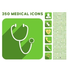 Stethoscope Icon and Medical Longshadow Icon Set vector