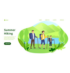 summer camping concept and family hiking in forest vector image