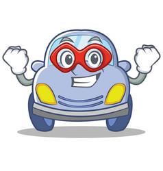 Super hero cute car character cartoon vector
