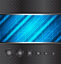 Techno abstract blue background striped texture vector