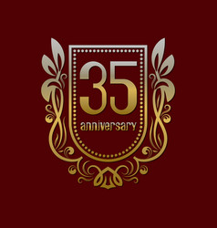 thirty fifth anniversary vintage logo symbol vector image