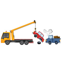 Tow truck lifting damaged cars vector