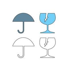 Umbrella and Broken Cracked Glass vector