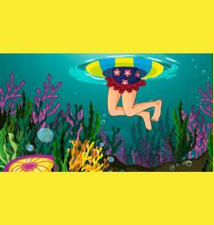 Underwater scene with various coral reef vector