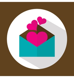 Valentine letter flat icon with long shadow vector image