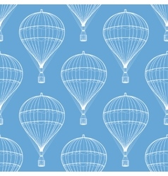 Vintage hot air balloons seamless pattern vector image