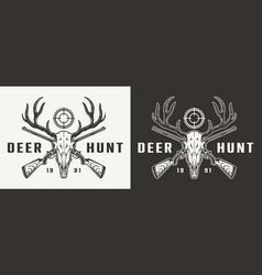 vintage monochrome hunting badge vector image