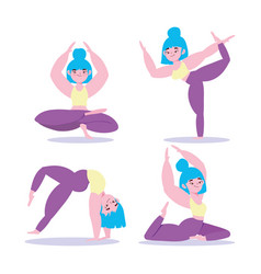 yoga online woman in different yoga pose training vector image