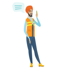 Young hindu builder with speech bubble vector