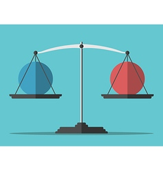 Balance weighing two spheres vector