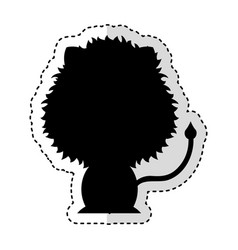 cute lion silhouette isolated icon vector image vector image