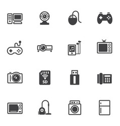 home electronic device icons set for internet vector image