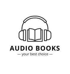 modern audio books store logo Line style vector image vector image