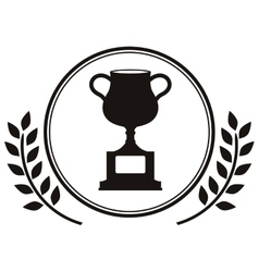 monochrome trophy cup with olive branch vector image vector image
