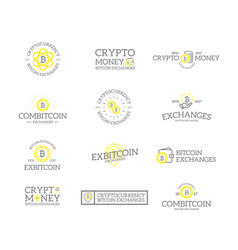 set of retro vintage bitcoin and cryptocurrency vector image
