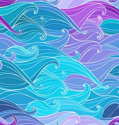 Abstract seamless background with hand-drawn waves vector image