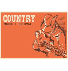 American country music festival poster with vector image vector image