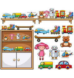 different toys on the wooden shelves vector image vector image
