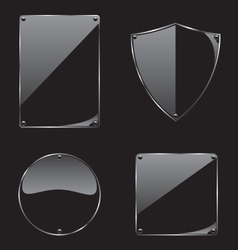 Glass frame on black background collection vector image vector image