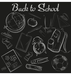 Hand Drawn School chalk sketch chalkboard vector image
