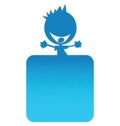 illustration of a blue boy on top of a banner vector image vector image