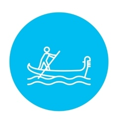Sailor rowing boat line icon vector image