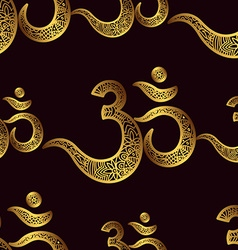 Seamless pattern Om or Aum Indian sacred sound vector image vector image