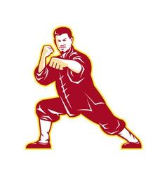 Shaolin Kung Fu Martial Arts Master Retro vector image
